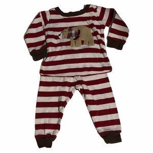 Mud Pie Baby Red White Stripe Christmas PJ Set